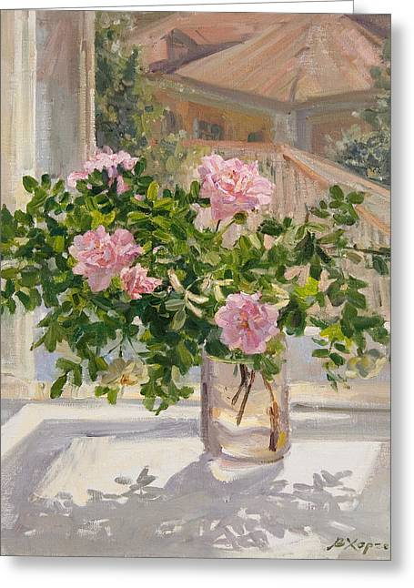 Wild Rose Greeting Card by Victoria Kharchenko