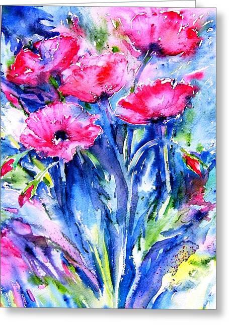 Wild Scarlet Poppies  Greeting Card by Trudi Doyle