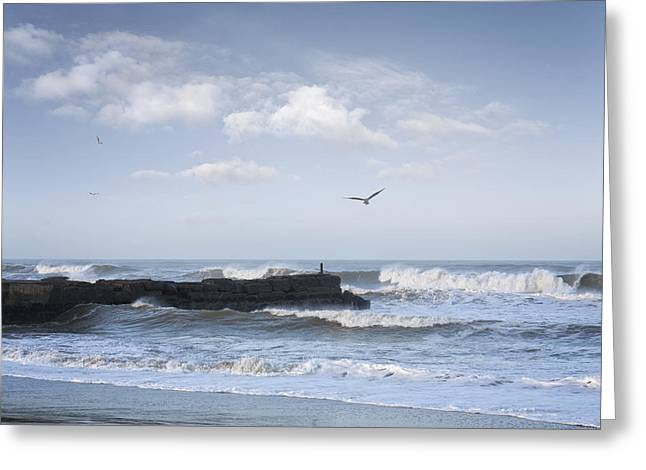 Wild Seascape With Old Jetty And Seagulls Overhead  Greeting Card