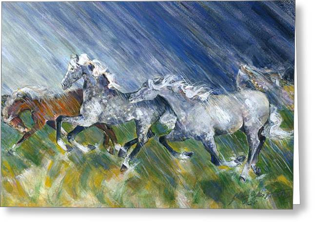 Greeting Card featuring the painting Wild Storm by Mary Armstrong
