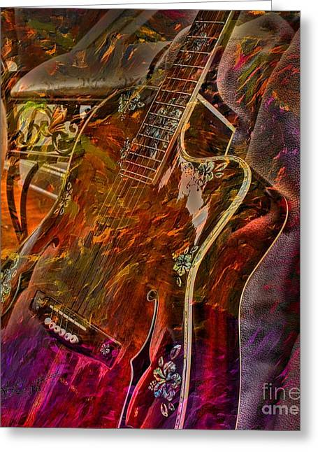 Wild Strings Digital Guitar Art By Steven Langston Greeting Card by Steven Lebron Langston
