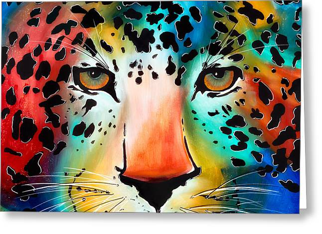 Greeting Card featuring the painting Wild Thing by Dede Koll