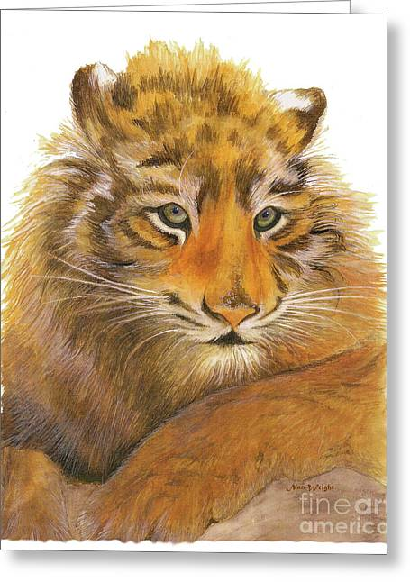 Greeting Card featuring the painting Wild Tiger Cub by Nan Wright