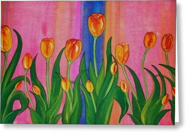 Greeting Card featuring the painting Wild Tulips by Cindy Micklos