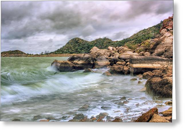Wild Weather On Lake Altus - Oklahoma - Quartz Mountains Greeting Card