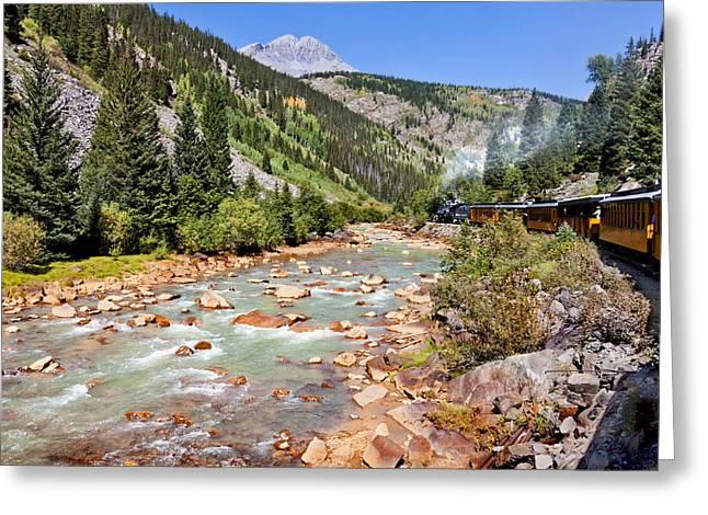 Wild West Train Ride Along The Animas River From Durango To Silverton Colorado Greeting Card by Karen Stephenson