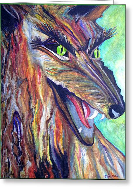 Greeting Card featuring the drawing Wild Wolf by Daniel Janda