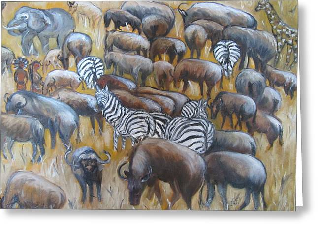 Wildebeest Migration In Kenya Greeting Card