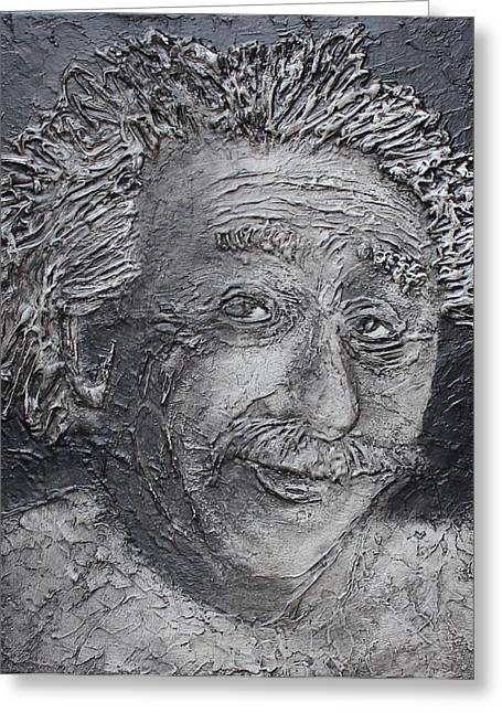 Greeting Card featuring the painting Wilder Einstein by Steve  Hester