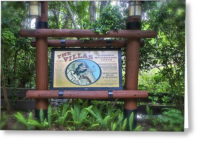 Wilderness Lodge Sign Greeting Card by Thomas Woolworth