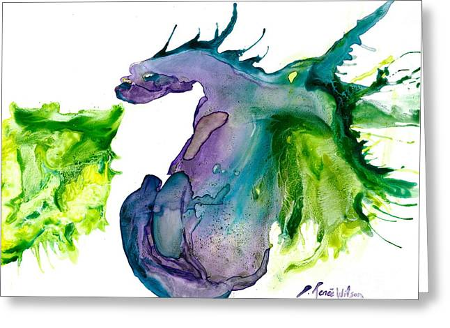 Wildfire And Water Dragon Greeting Card by D Renee Wilson