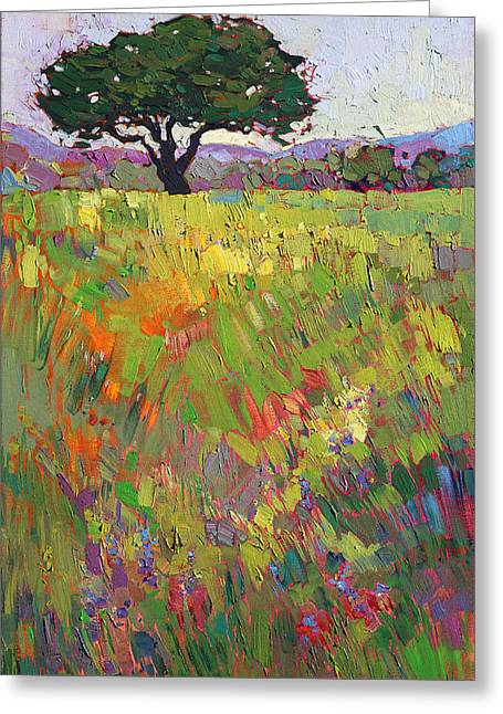 Greeting Card featuring the painting Wildflower Hill by Erin Hanson
