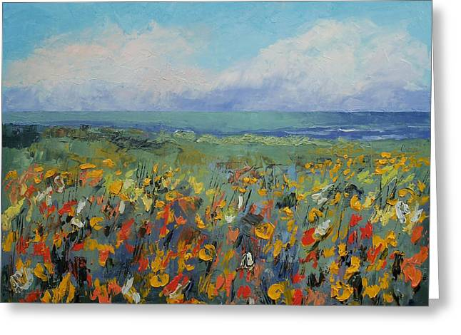 Wildflower Seascape Greeting Card by Michael Creese