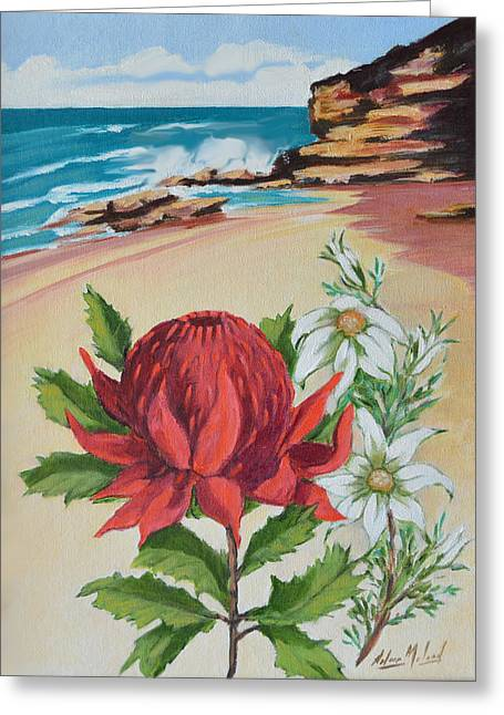 Wildflowers And Headland Greeting Card by Aileen McLeod