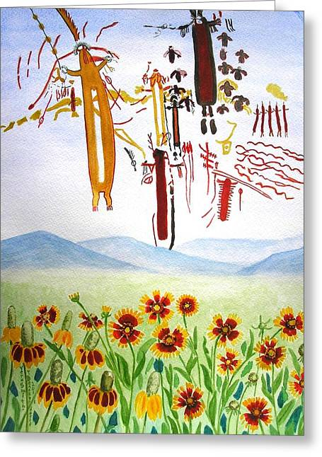 Wildflowers And Rock Art At Halo Shelter  Greeting Card