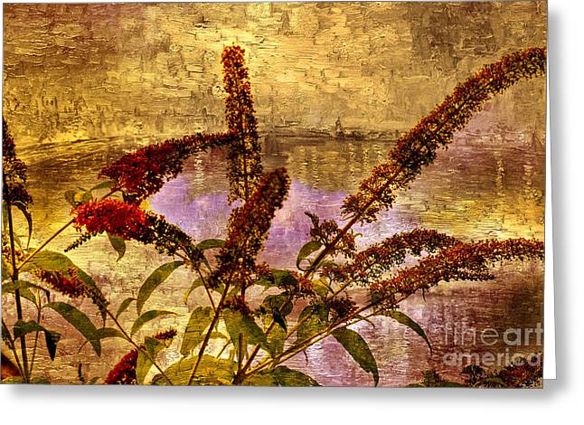 Wildflowers At The Pond Greeting Card by Elaine Manley