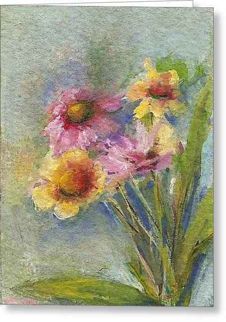 Greeting Card featuring the painting Wildflowers by Mary Wolf