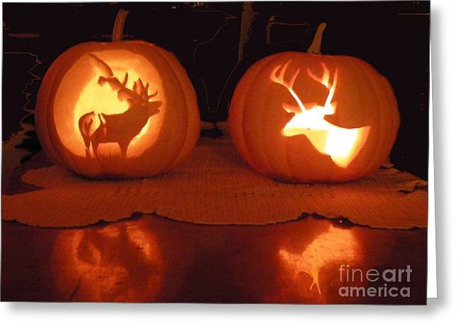 Wildlife Halloween Pumpkin Carving Greeting Card