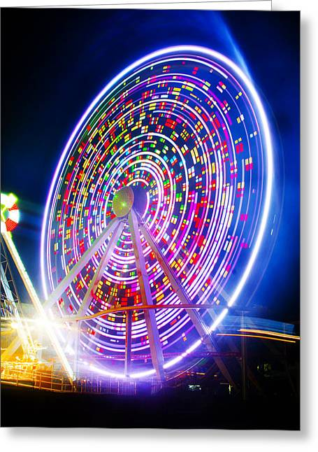 Wildwood Ferris Wheel At Night Greeting Card by Bill Cannon