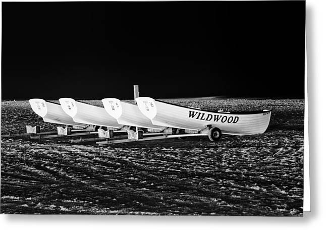 Wildwood Lifeboats At Night In Black And White Greeting Card by Bill Cannon
