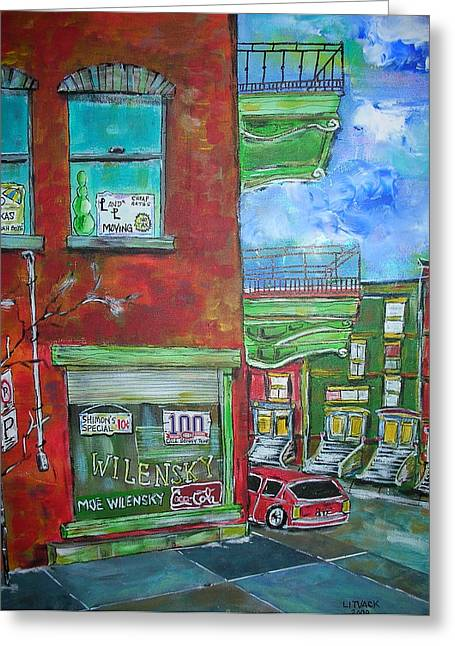 Wilensky's Corner Greeting Card by Michael Litvack