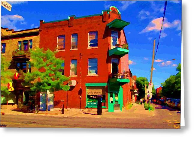 Wilenskys Deli Light Lunch Famous Sandwich Coffee Shop Art Of Montreal Street Scene Carole Spandau Greeting Card by Carole Spandau
