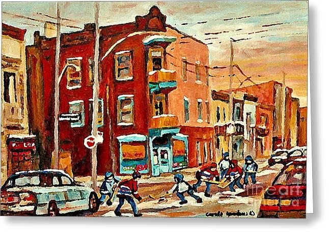 Wilenskys Paintings Hockey Art Commissions Originals Prints By Authentic Montreal Artist C Spandau Greeting Card by Carole Spandau