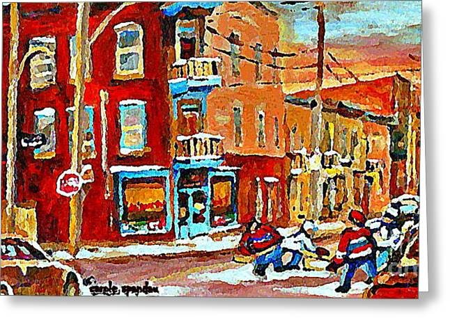 Wilenskys Paintings Hockey Art Prints Originals Commissions Contact Popular Montreal Artist Cspandau Greeting Card by Carole Spandau