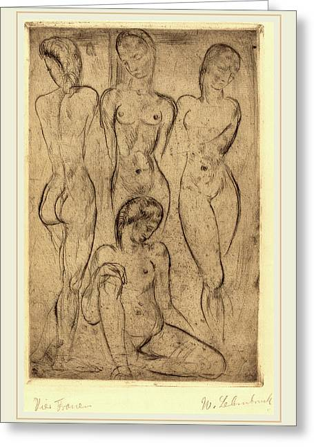 Wilhelm Lehmbruck, Four Women Three Standing, One Sitting Greeting Card by Litz Collection