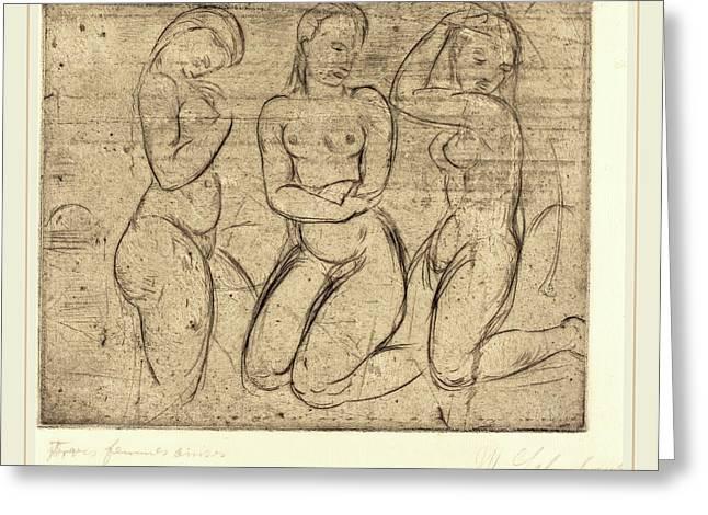 Wilhelm Lehmbruck, Three Kneeling Women Drei Frauen Knied Greeting Card by Litz Collection