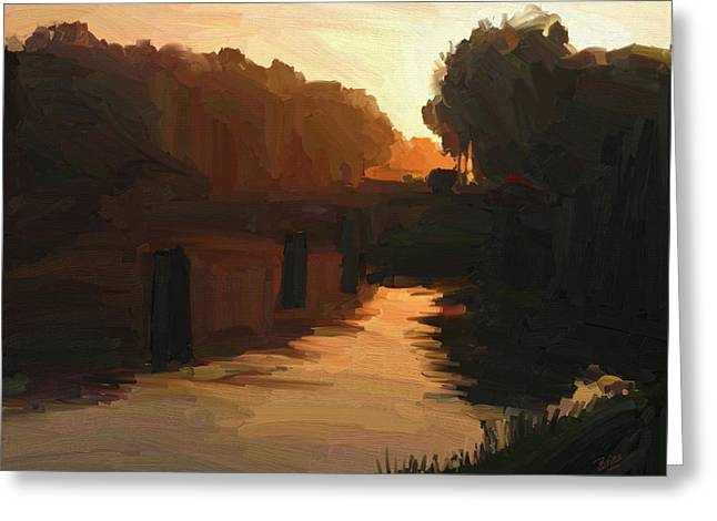 Greeting Card featuring the painting Wilhelmina Canal In Autumn Morning Light by Nop Briex