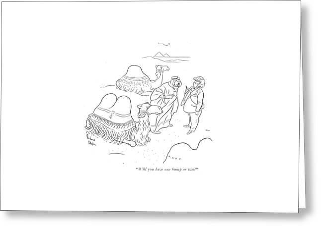 Will You Have One Hump Or Two? Greeting Card by Richard Decker