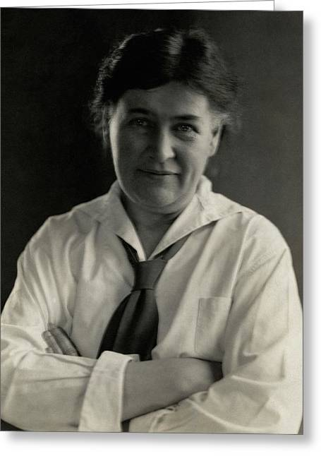 Willa Cather Wearing A Tie Greeting Card by Edward Steichen