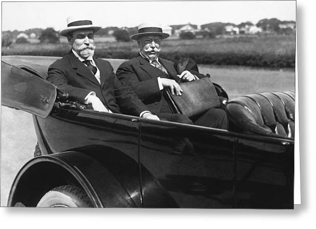 Willam Taft And Charles Hughes Greeting Card by Underwood Archives