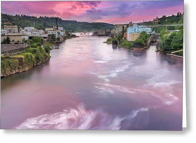 Willamette Falls During Sunset Greeting Card by David Gn