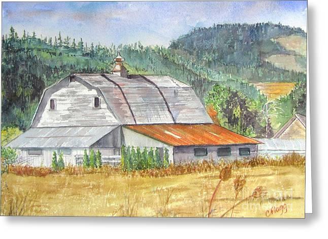 Willamette Valley Barn Greeting Card by Carol Flagg