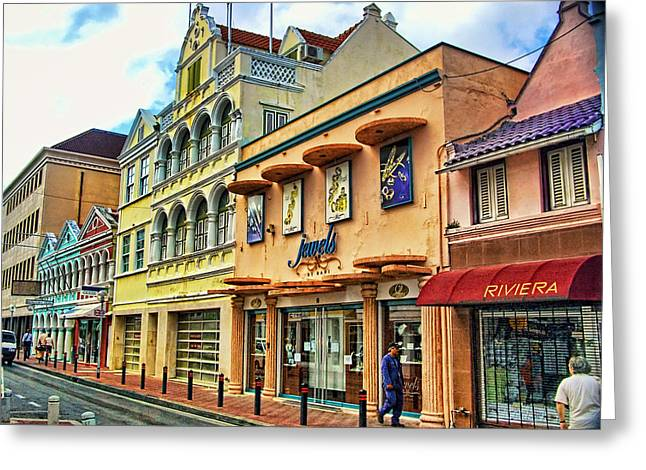 Willemstad Shopping Greeting Card by Jon Berghoff