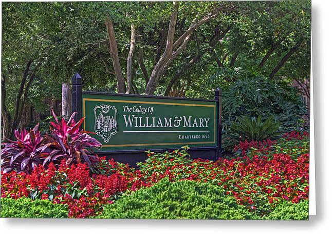 William And Mary Welcome Sign Greeting Card by Jerry Gammon