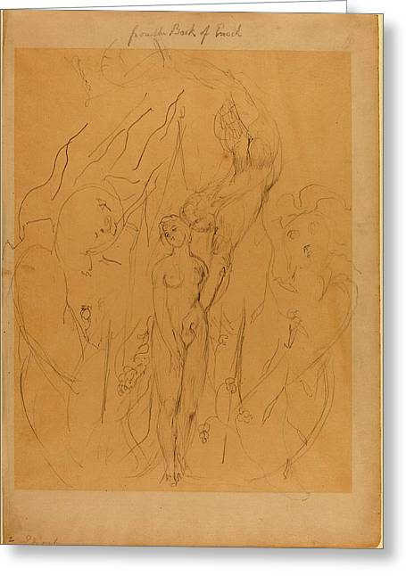 William Blake British, 1757 - 1827, An Angel Teaching Greeting Card by Quint Lox
