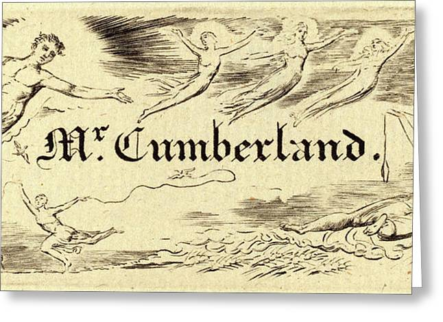 William Blake, British 1757-1827, George Cumberlands Card Greeting Card by Litz Collection