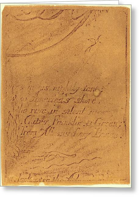 William Blake, British 1757-1827, Restrike From Fragment Greeting Card by Litz Collection