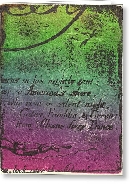 William Blake British, 1757 - 1827, Restrike From Fragment Greeting Card by Quint Lox