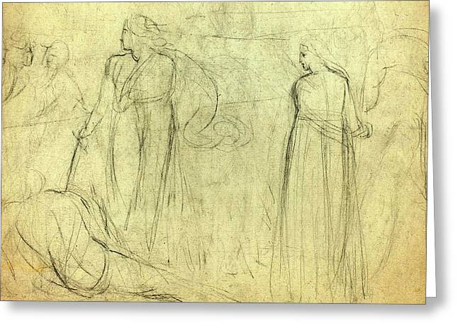William Blake, British 1757-1827, Sketch Of A Swordsman Greeting Card by Litz Collection