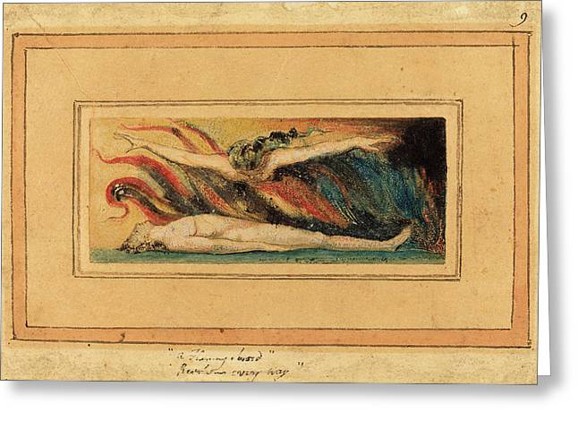 William Blake British, 1757 - 1827, The Soul Hovering Greeting Card by Quint Lox