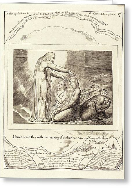 William Blake, British 1757-1827, The Vision Of God Greeting Card by Litz Collection