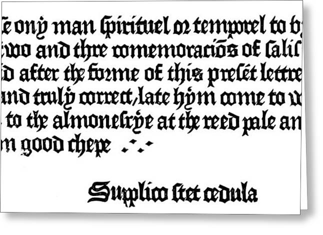 William Caxton Adadvertisement Offering Greeting Card by Granger