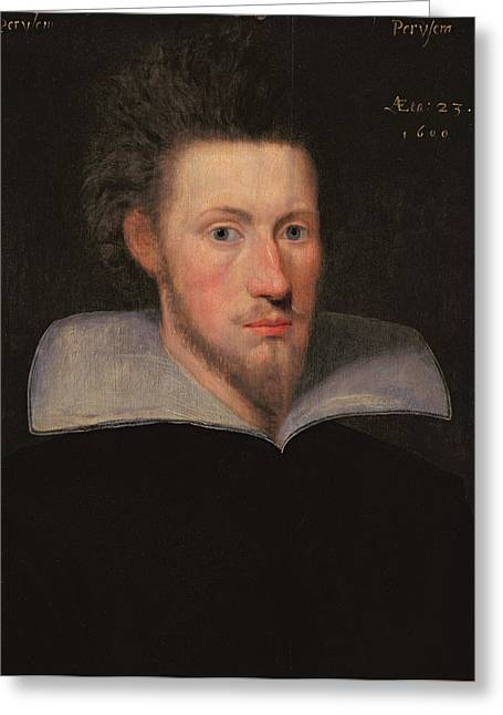 William Drummond Of Hawthornden 1585-1649 1609 Oil On Panel Greeting Card by Scottish School