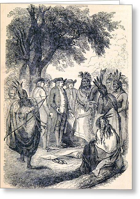 William Penns Treaty With The Indians Greeting Card by British Library
