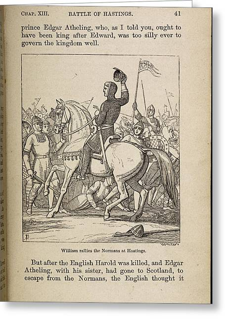 William Rallies The Normans At Hastings Greeting Card by British Library
