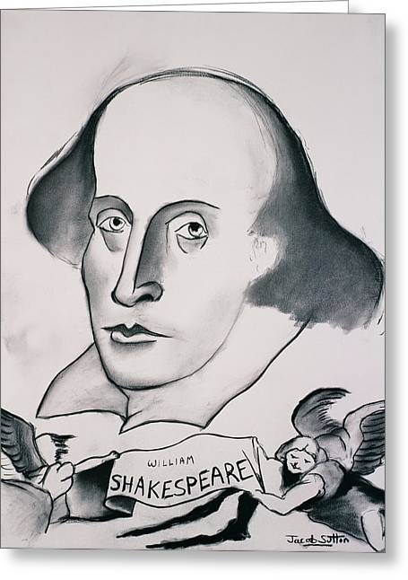 William Shakespeare 1564-1616 1994 Charcoal On Paper Greeting Card by Jacob Sutton